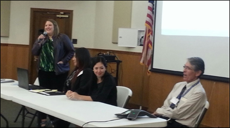 Arizona TB Control Program Manager Kristen Herrick, MPH (l) moderates a bi-national panel  discussing continuity of care.