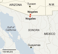 Nogales, AZ on the map