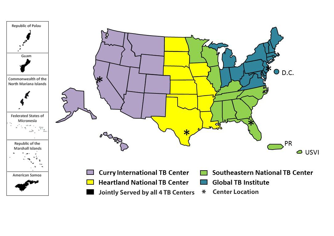 Tuberculosis Center of Excellence region map